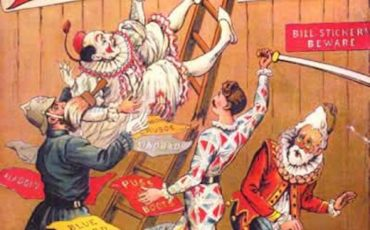 The Christmas Pantomime colour lithograph bookcover, 1890, showing the harlequinade characters. Photo Credit: © Public Domain via Wikimedia Commons.