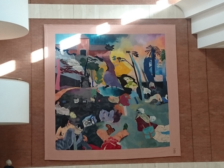 British Library in London: If Not, Not Tapestry by RB Kitaj hung in St Pancras Entrance Hall. Photo Credit: © Steve Fallon.