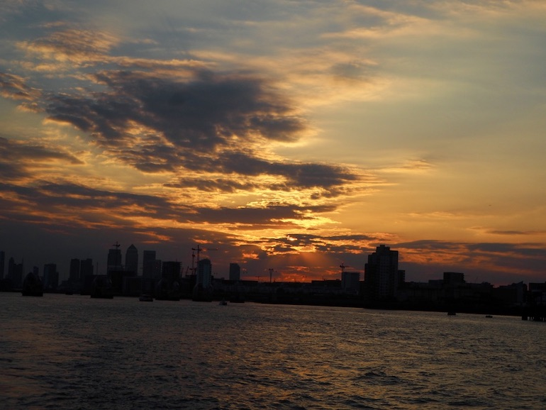 Watching the sunset while on a River Cruise in London. Photo Credit: © Ursula Petula Barzey.