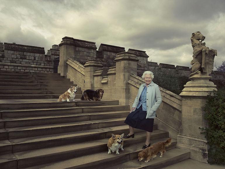 Queen Elizabeth II & corgi dogs. Photo Credit: © Royal Trust Collection.