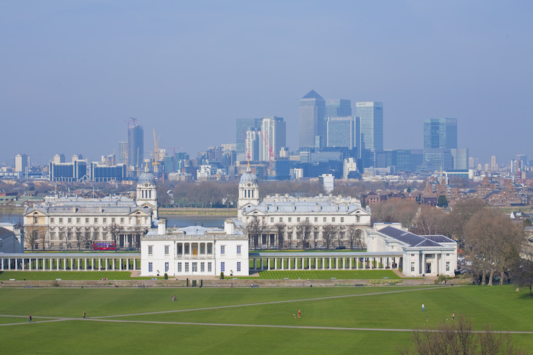 Greenwich park with view of Canary Wharf in London. Photo Credit: © London & Partners.
