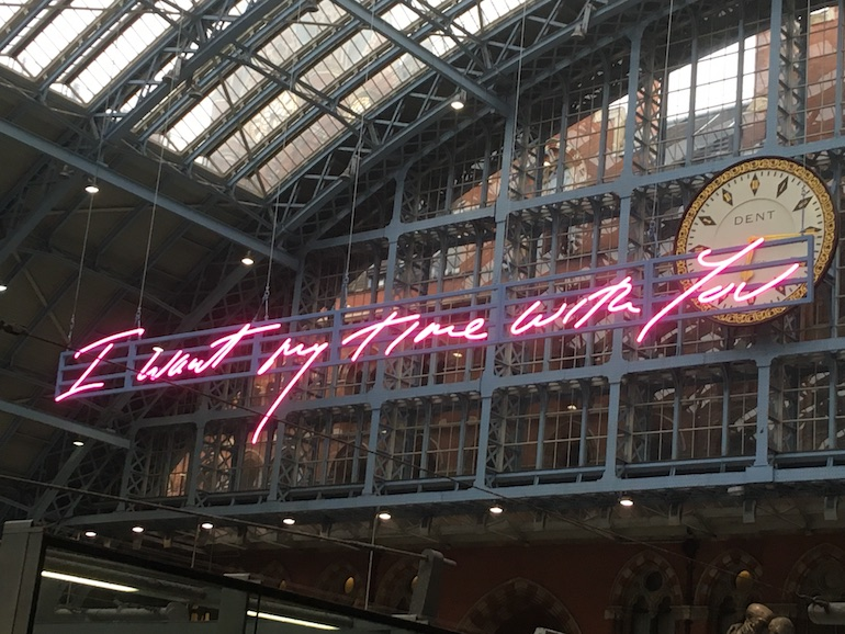 Saint Pancras International Station: Tracey Emin LED sculpture, I want my time with you. Photo Credit: © Edwin Lerner.