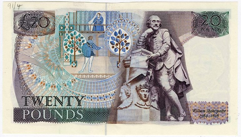 William Shakespeare on £20 note.