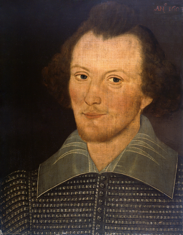 William Shakespeare portrait attributed to Sanders. Photo Credit: © Public Domain via Wikimedia Commons.