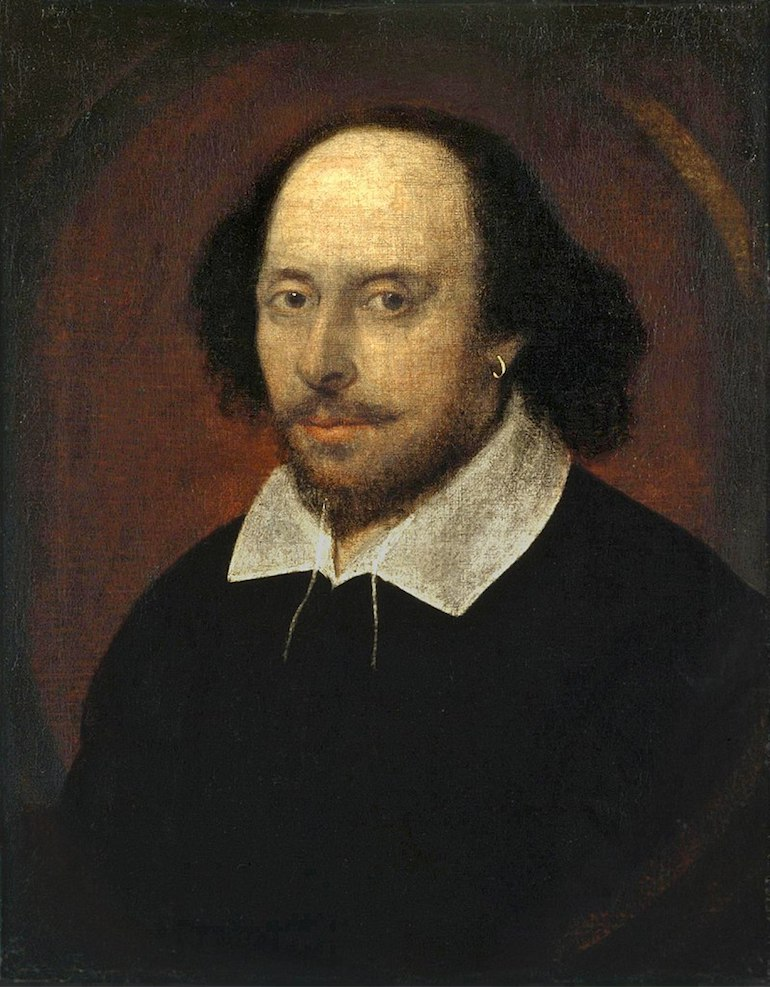 William Shakespeare portrait by John Taylor known as The Chandos Portrait. Photo Credit: © Public Domain via Wikimedia Commons.