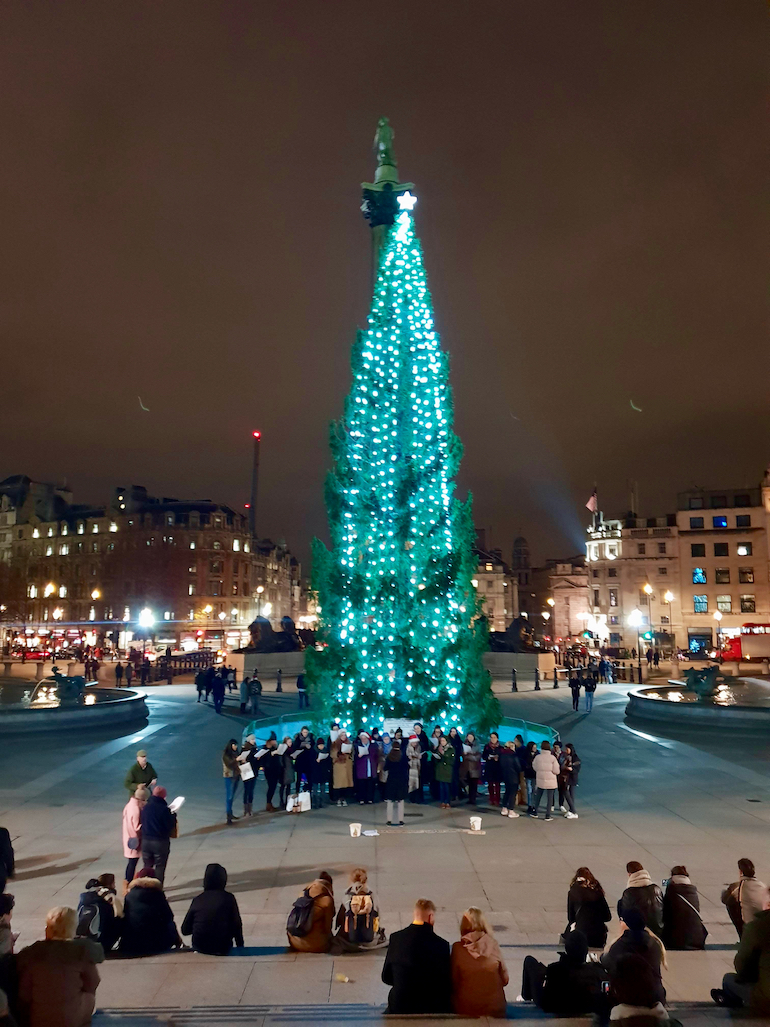 2018 Trafalgar Square Christmas Tree and carol singers. Photo Credit: © Ursula Petula Barzey.