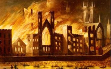Painting of the Palace of Westminster on Fire, 1834, by an unknown artist. Photo Credit: ©Public Domain via Wikimedia Commons.