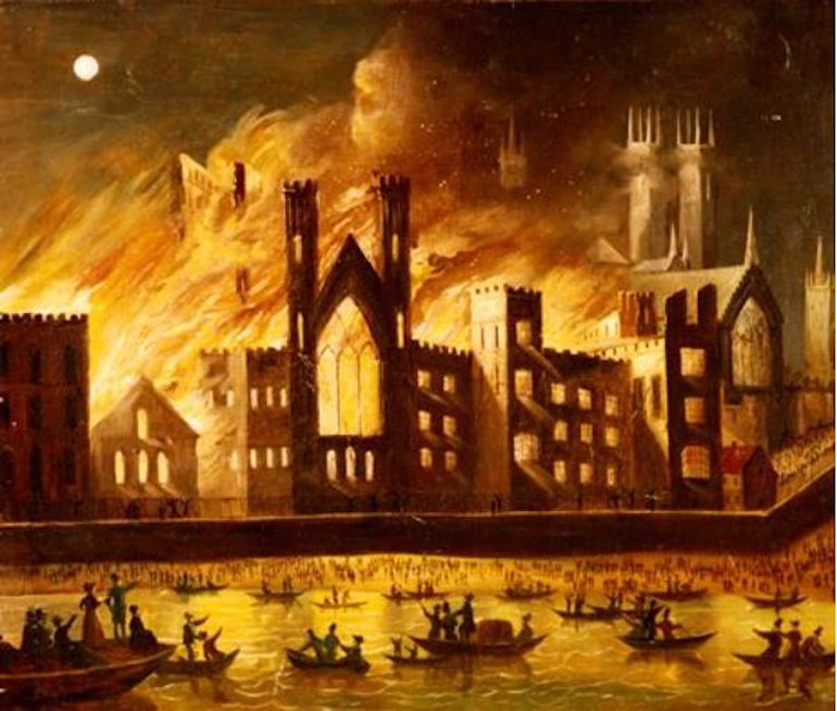 Painting of the Palace of Westminster on Fire, 1834, by an unknown artist. Photo Credit: © Public Domain via Wikimedia Commons.