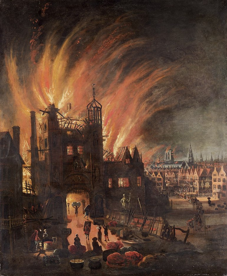 Painting of the Great Fire of London, with Ludgate and Old St. Paul's. Photo Credit: © Public Domain via Wikimedia Commons.