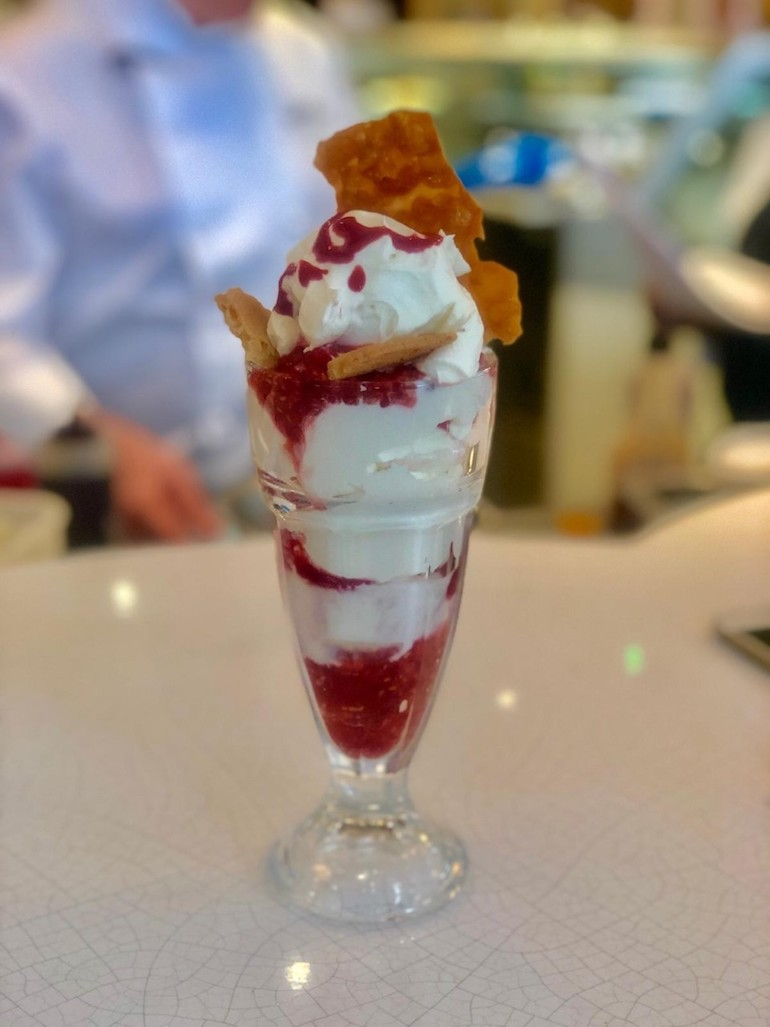 Sundae from The Parlour at Fortnums & Mason. Sorbets on sticks from Grom. The Parlour at Fortnum and Mason. Diary free 'Avolato' from Snowflake. Photo Credit: © Diane Williams.