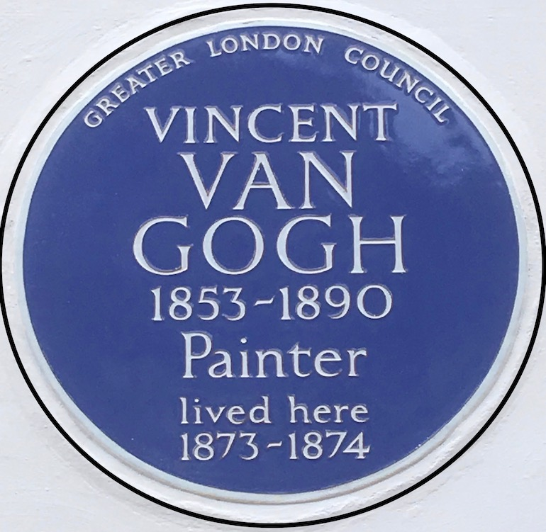 Vincent van Gogh blue plaque. Photo Credit: © Edwin Lerner.