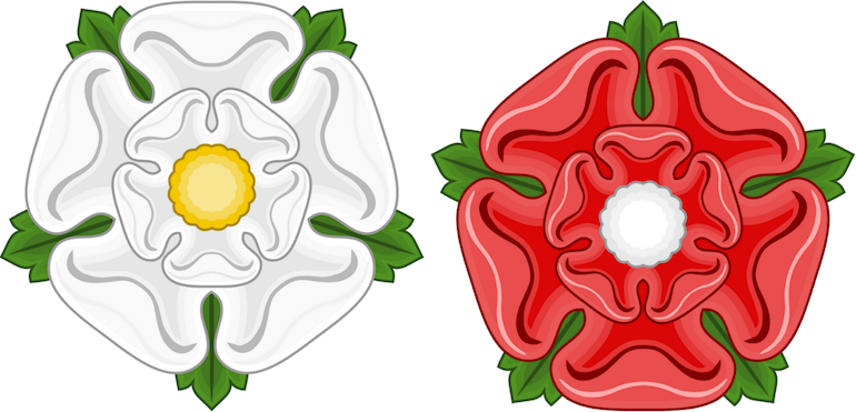 War of the Roses: The White Rose of the House of York and The Red Rose of the House of Lancaster. Photo Credit: © Sodacan via Wikimedia Commons.