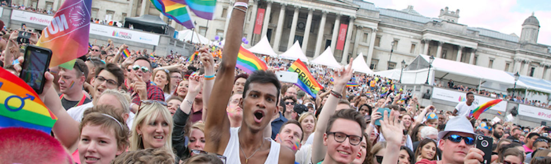 Crowd at Pride in London Celebrations in Trafalgar Square. Photo Credit: © Matias Altbach via Pride in London.