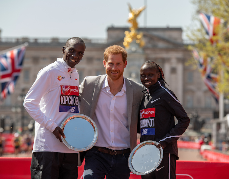 London Marathon 2019 winners with Prince Harry. Photo Credit: © Thomas Lovelock for Virgin Money London Marathon.