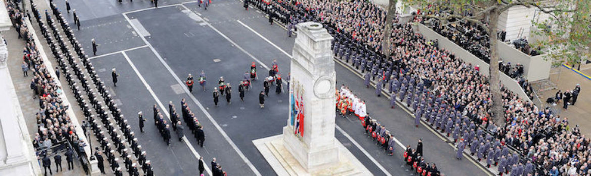 Remembrance Sunday at the Cenotaph in London. Photo Credit: © Mez Merrill/MOD via Wikimedia Commons.