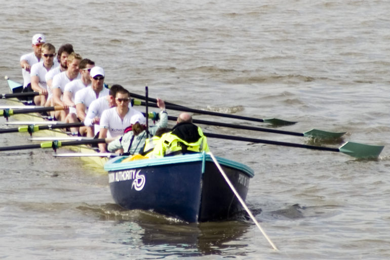 The Boat Race: Cambridge at their stakeboat. Photo Credit: ©Public Domain via Wikimedia Commons.