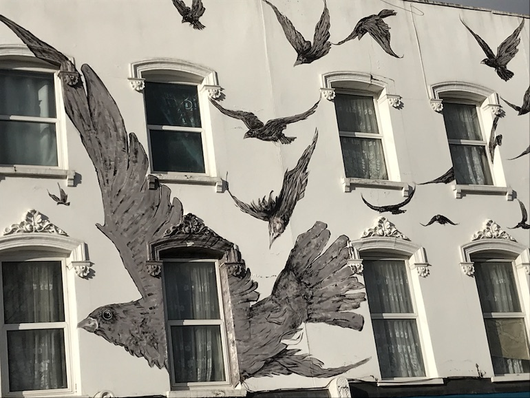 Alfred Hitchcock in London_The Birds mural in Leytonstone. Photo Credit: © Edwin Lerner.