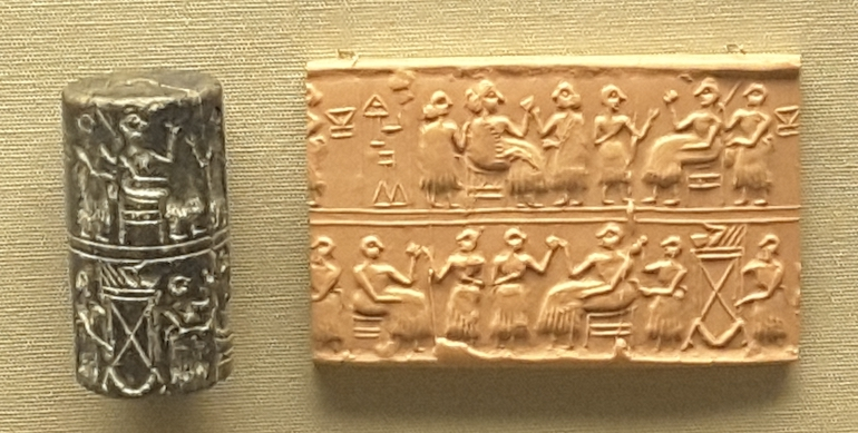 British Museum in London: Seal and seal impression from grave of Puabi from Ur, Mesopotamia, c 2600 BC. Photo Credit: ©  Ingrid M Wallenborg.