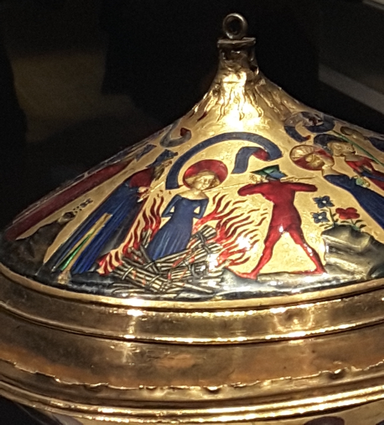 British Museum in London: St Agnes, the Royal Gold Cup, 14th C, France. Photo Credit: ©  Ingrid M Wallenborg.