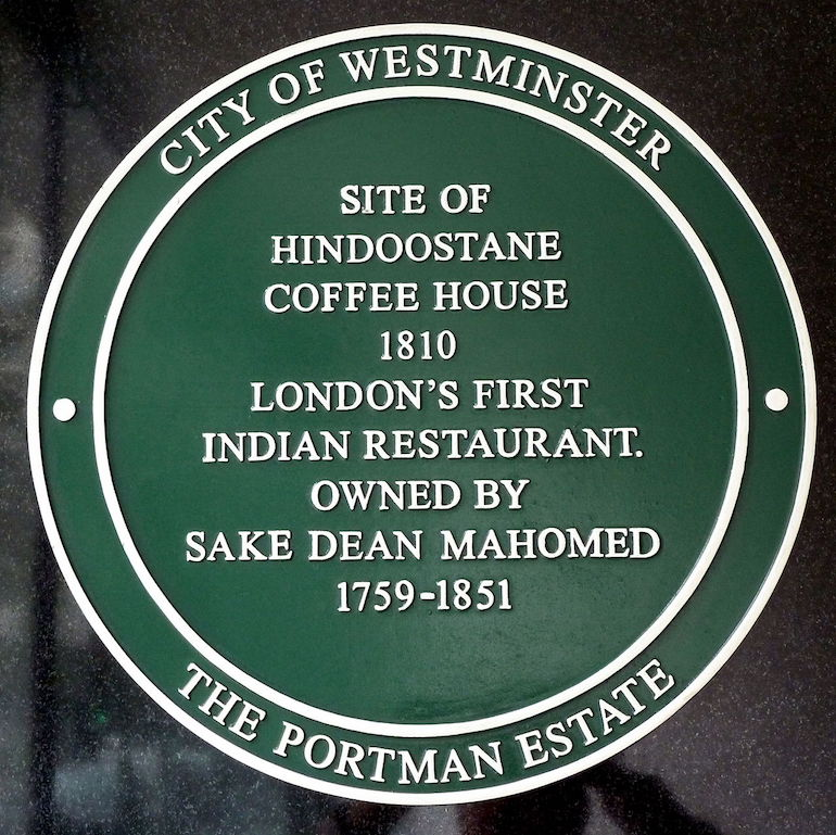 City of Westminster plaque for Hindoostane Cofee House, London's first Indian restaurant. Photo Credit: © Simon Harriyott via Wikimedia Commons.
