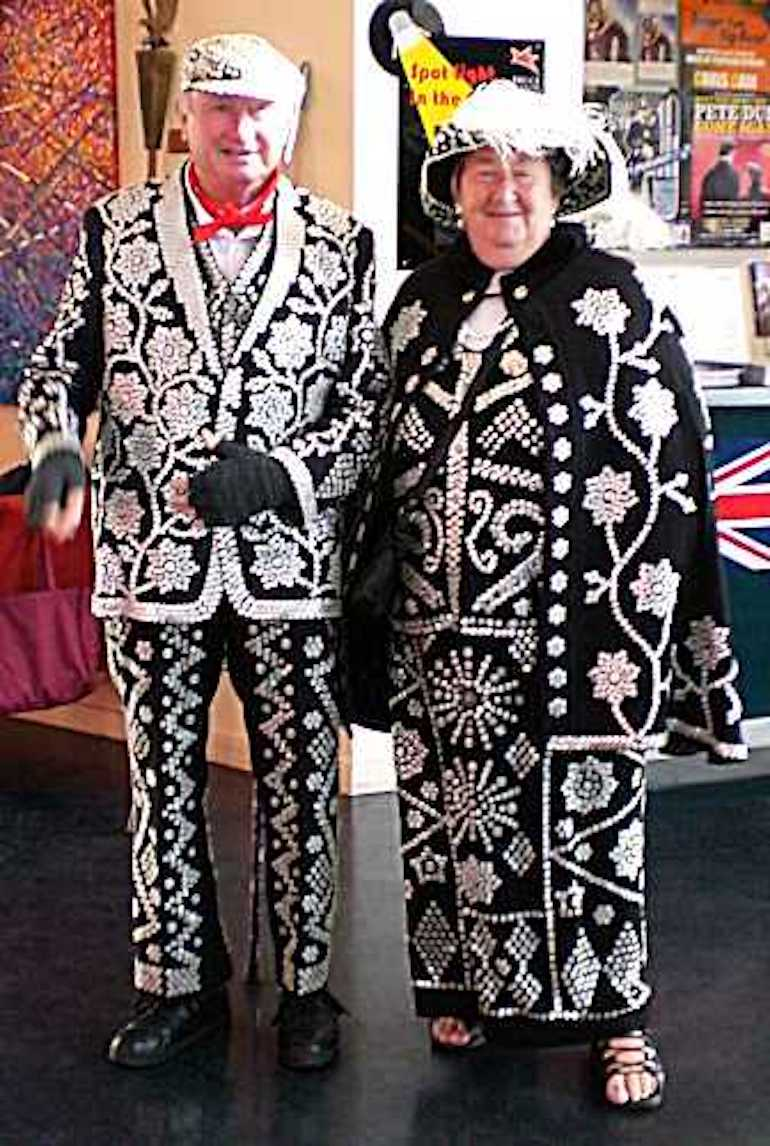 Pearly King and Queen in London. Photo Credit: © Vilakins via Wikimedia Commons.