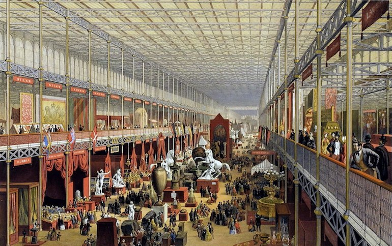 The interior of the Crystal Palace in London during the Great Exhibition of 1851. Photo Credit: © Public Domain via Wikimedia Commons.