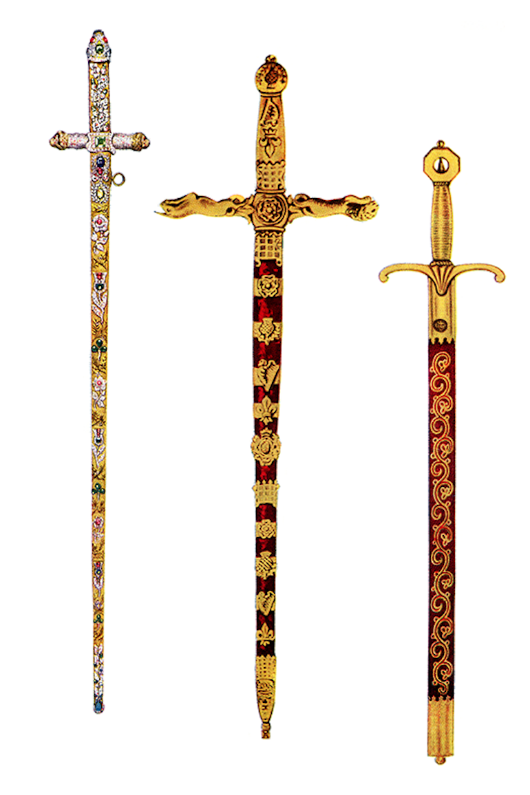 British Coronation Swords: The Sword of Offering, the Sword of State, and the Sword of Mercy. Photo Credit: © Public Domain via Wikimedia Commons.