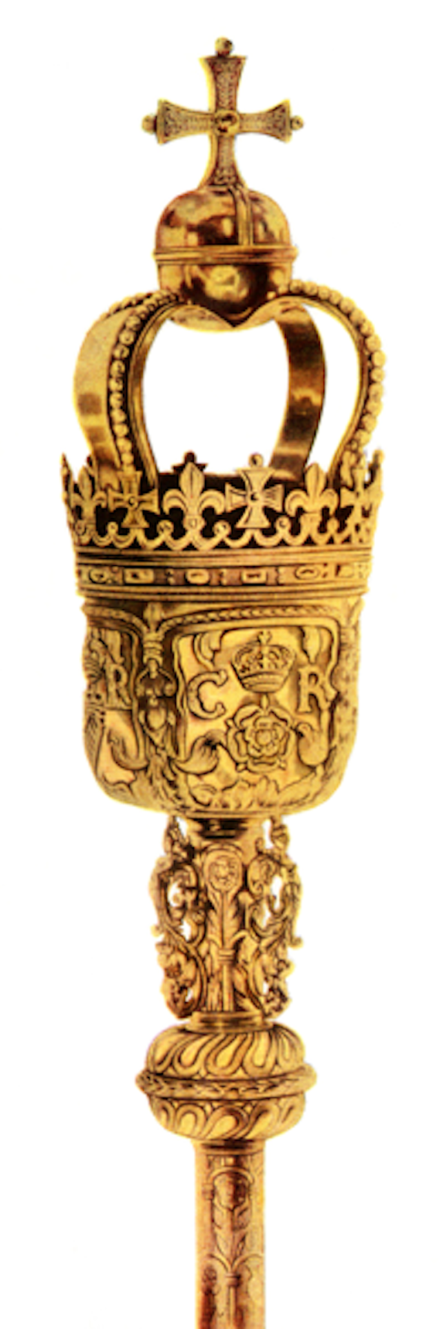 Top of one of the British ceremonial maces bearing the cypher of Charles II. Photo Credit: © Public Domain via Wikimedia Commons.