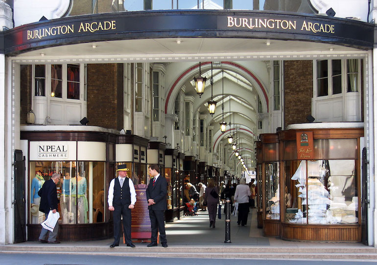 Burlington Arcade in London. Photo Credit: © Andrew Dunn via Wikimedia Commons.