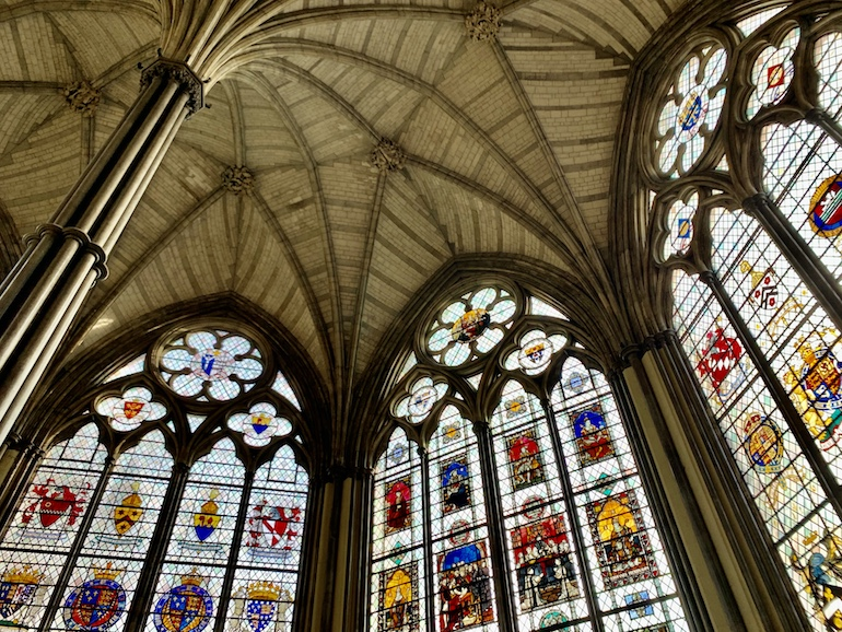 The Chapter House at Westminster Abbey in London. This is where Parliament, presided over by the king, first met. It was badly damaged during WW2. Photo Credit: © Antony Robbins.