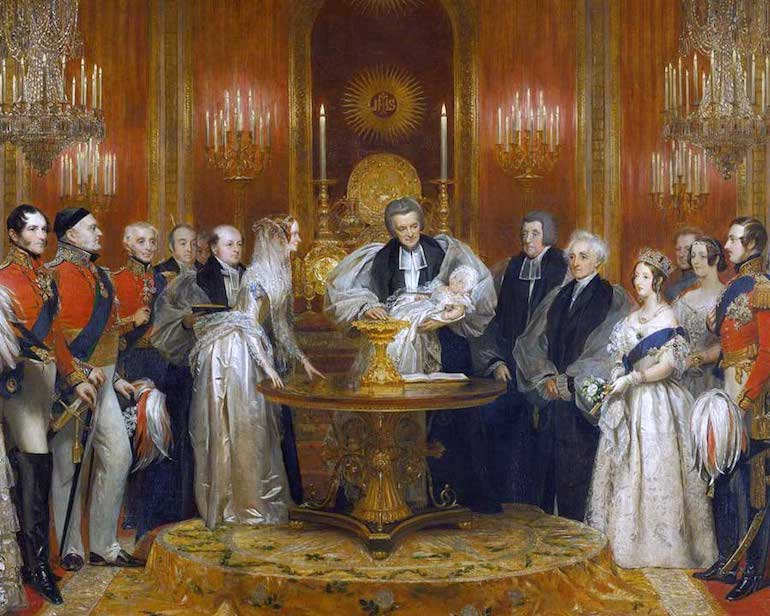 Painting by Charles Robert Leslie of The Lily Font at the christening of Victoria, Princess Royal, 10 February 1841. Photo Credit: © Public Domain via Wikimedia Commons.