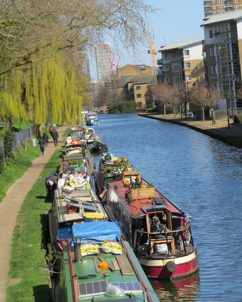 Boats moored along the Hertford Union Canal, Bow, East London. Photo Credit: © Steve Fallon.
