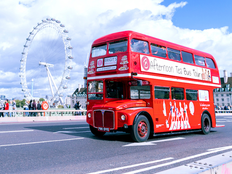 View the sites of London while sipping tea. Photo Credit: © Brigit's Bakery.