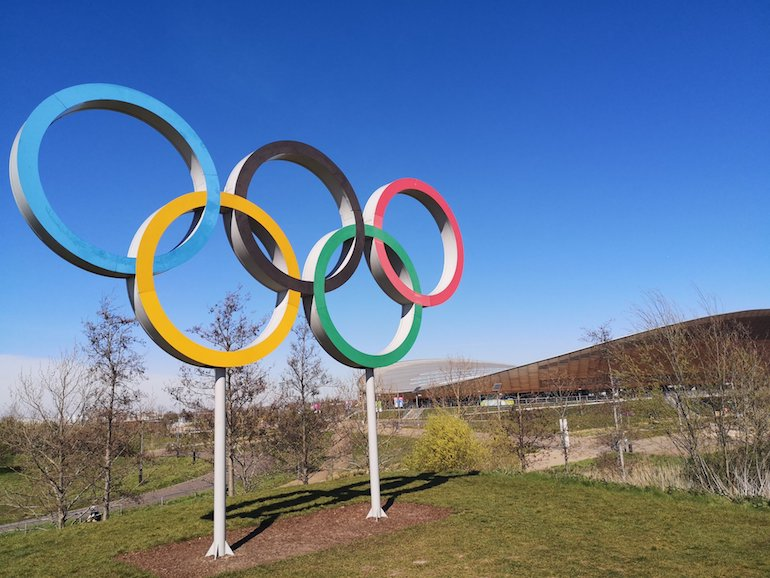 Olympic rings, Queen Elizabeth Olympic Park, Stratford, East London. Photo Credit: © Steve Fallon.