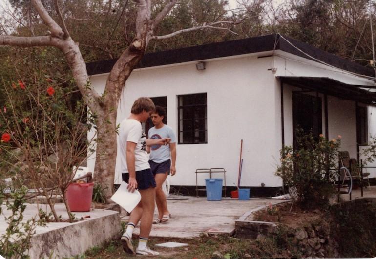 Steve Fallon & Mike Rothschild at upper house, No 1 Tong Fuk Village, Lantau Hong Kong (1990).