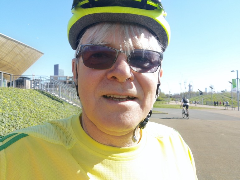Steve Fallon cycling, Queen Elizabeth Olympic Park, Stratford, East London. Photo Credit: © Steve Fallon.