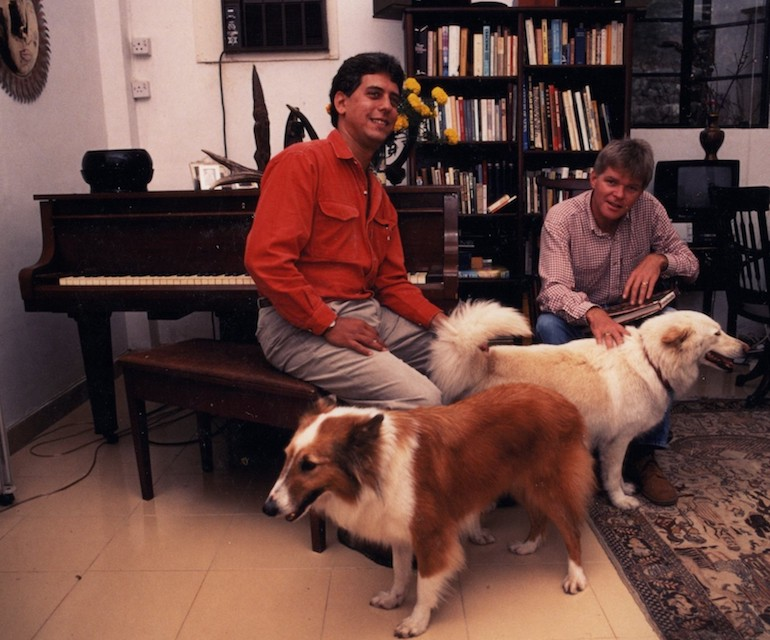 Steve & Mike with Whitey & Sophie in lower house, No 1 Tong Fuk Village, Lantau Hong Kong (1990). Photo Credit: © Steve Fallon.
