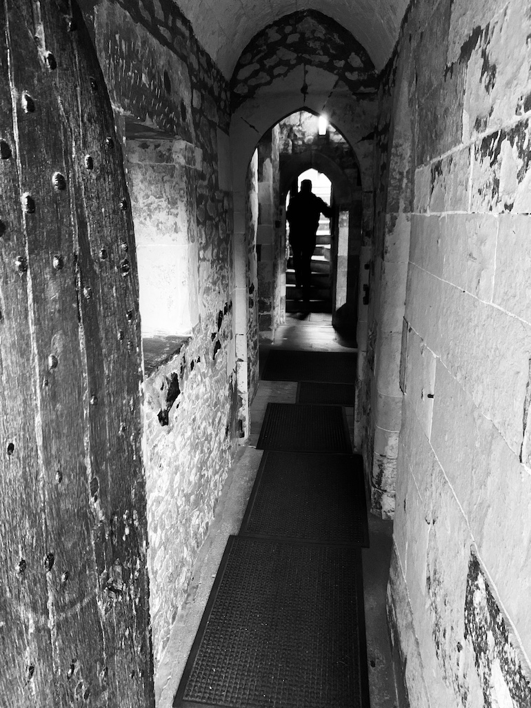 The narrow and rather spooky 13th century corridor of the Broad Arrow Tower. Photo Credit: © Antony Robbins.