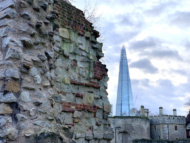 The remains of the 13th century Wardrobe Tower, next to the Shard - UK's tallest building, opened in 2013. Photo Credit: © Antony Robbins.