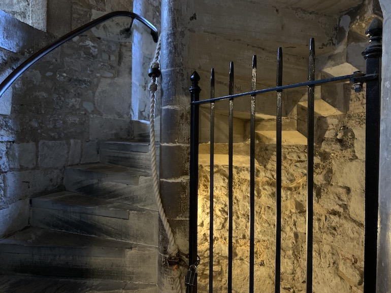 The twisting staircase leading to the Salt Tower at Tower of London. Photo Credit: © Antony Robbins.