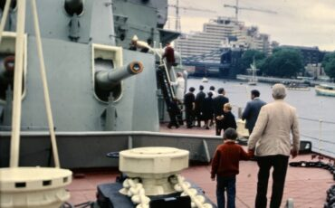 Antony Robbins aka Mr Londoner on HMS Belfast with his father in 1971. Photo Credit: ©  Anthony Robbins.
