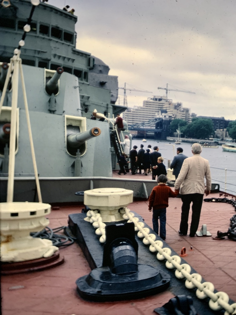 Antony Robbins aka Mr Londoner on HMS Belfast with his father in 1971. Photo Credit: ©  Antony Robbins.