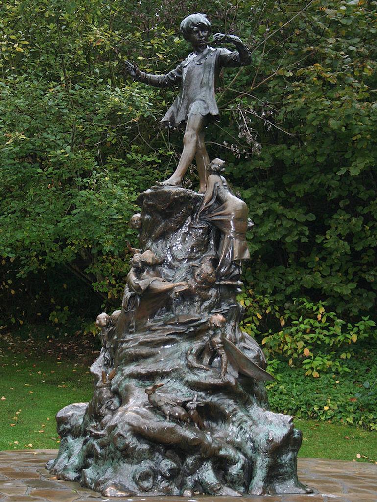 Peter Pan Monument in Kensington Gardens in London. Photo Credit: © Peter Clarke via Wikimedia Commons.