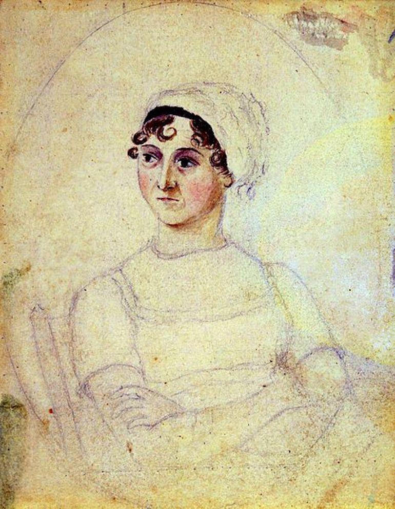 Portrait of Jane Austen by her sister Cassandra, in watercolour and pencil. Photo Credit: © Public Domain via Wikimedia Commons.