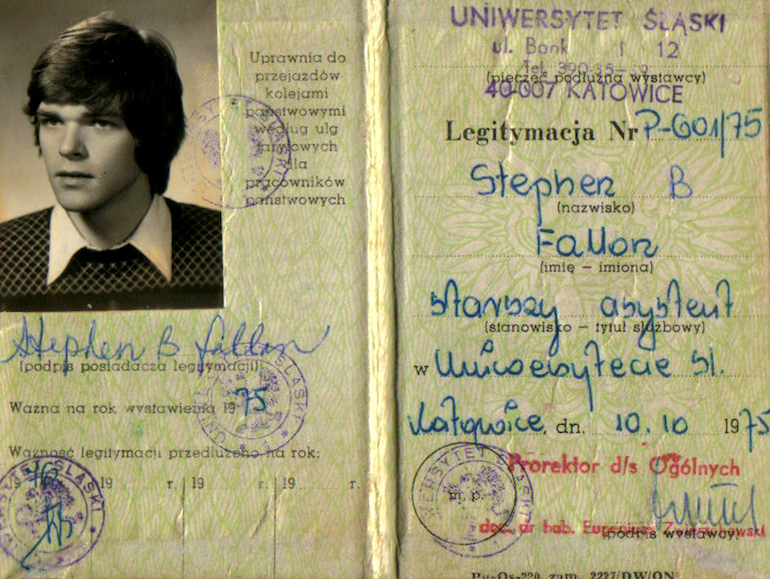 Steve Fallon's national identity card while teaching in Communist Poland 1975/6. Photo Credit: © Steve Fallon.