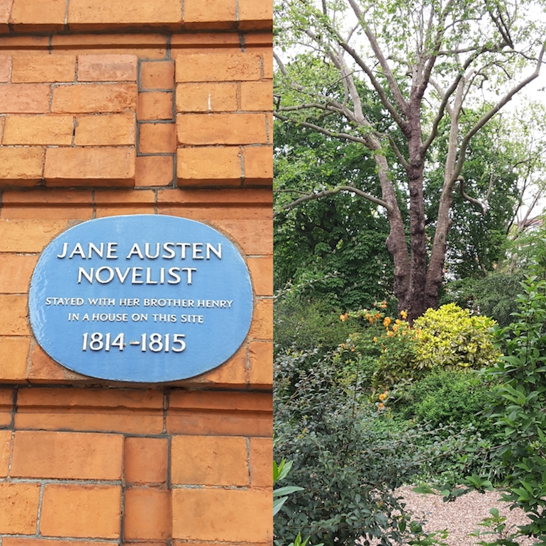 The garden square at 23 Hans Place where Jane Austen refreshed herself. Photo Credit: ©Ingrid M Wallenborg.