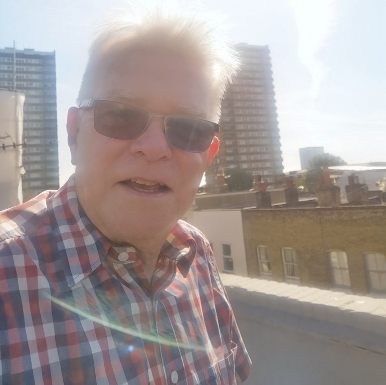 Steve on the roof on Chisenhale Road, Bow, East London. Photo Credit: © Steve Fallon.