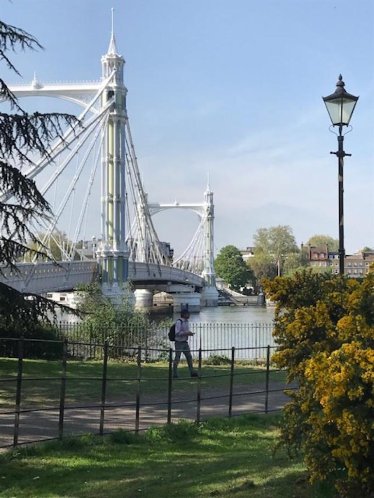 Albert Bridge and on into Chelsea, from Battersea Park. Photo Credit: © Clare McCoy.