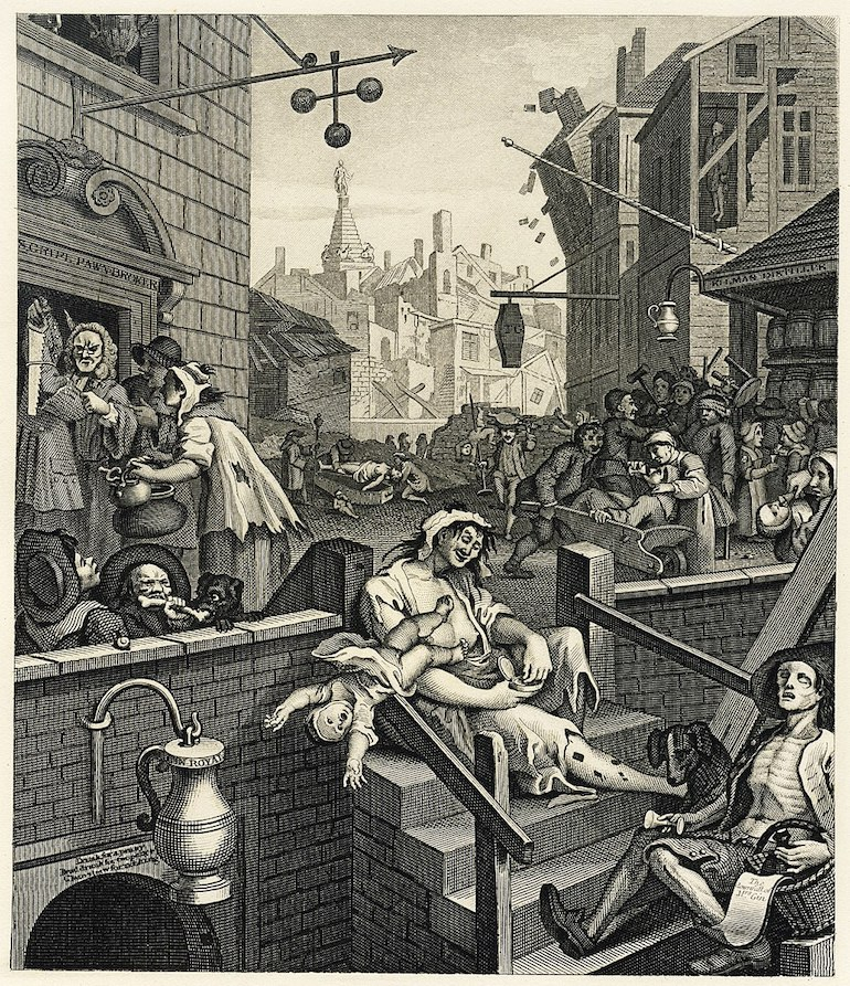 Gin lane print by British artist and engraver William Hogarth. Photo Credit: © Public Domain via Wikimedia Commons.