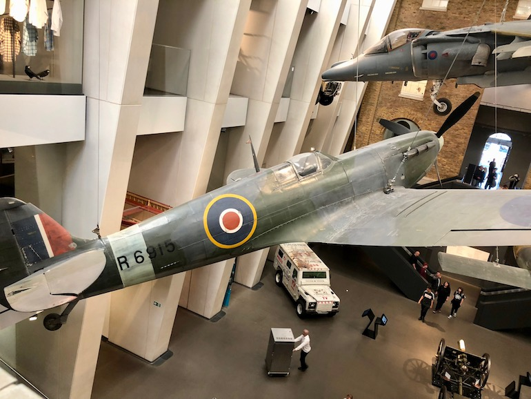 Spitfire in the Atrium at the Imperial War Museum in London. Photo Credit: © Ursula Petula Barzey.